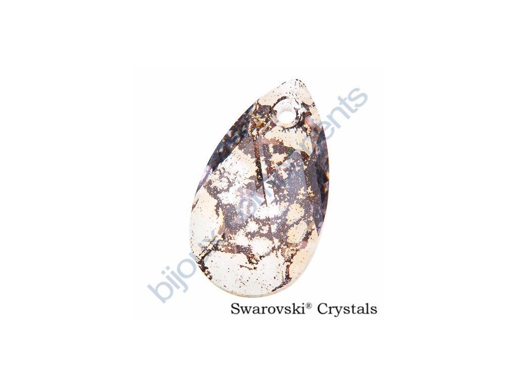 SWAROVSKI ELEMENTS přívěsek - hruška, crystal rose patina, 22mm