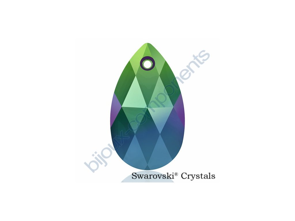 SWAROVSKI CRYSTALS přívěsek - hruška, crystal scarabeus green, 22mm