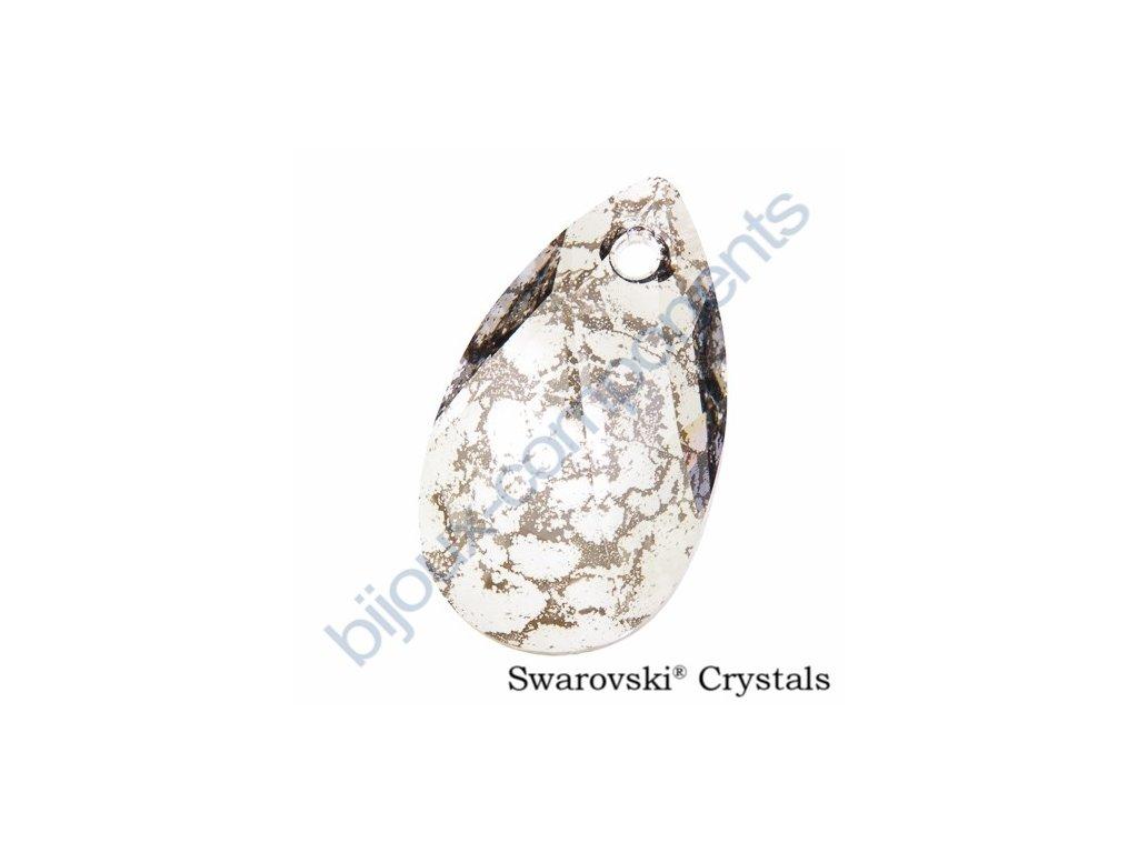 SWAROVSKI ELEMENTS přívěsek - hruška, crystal stříbrná patina, 22mm
