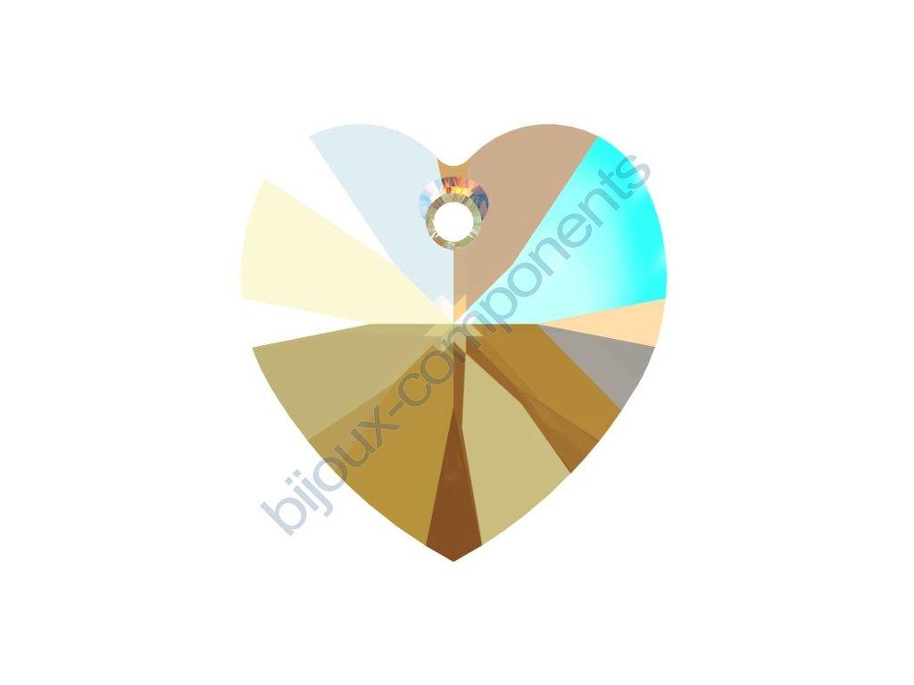SWAROVSKI CRYSTALS přívěsek - XILION srdce, black diamond shimmer effect, 14,4x14mm