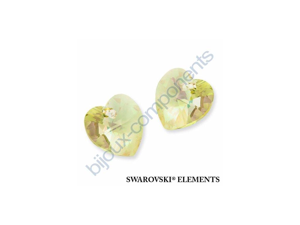 SWAROVSKI ELEMENTS přívěsek - XILION srdce, crystal lumin green, 18x17,5mm