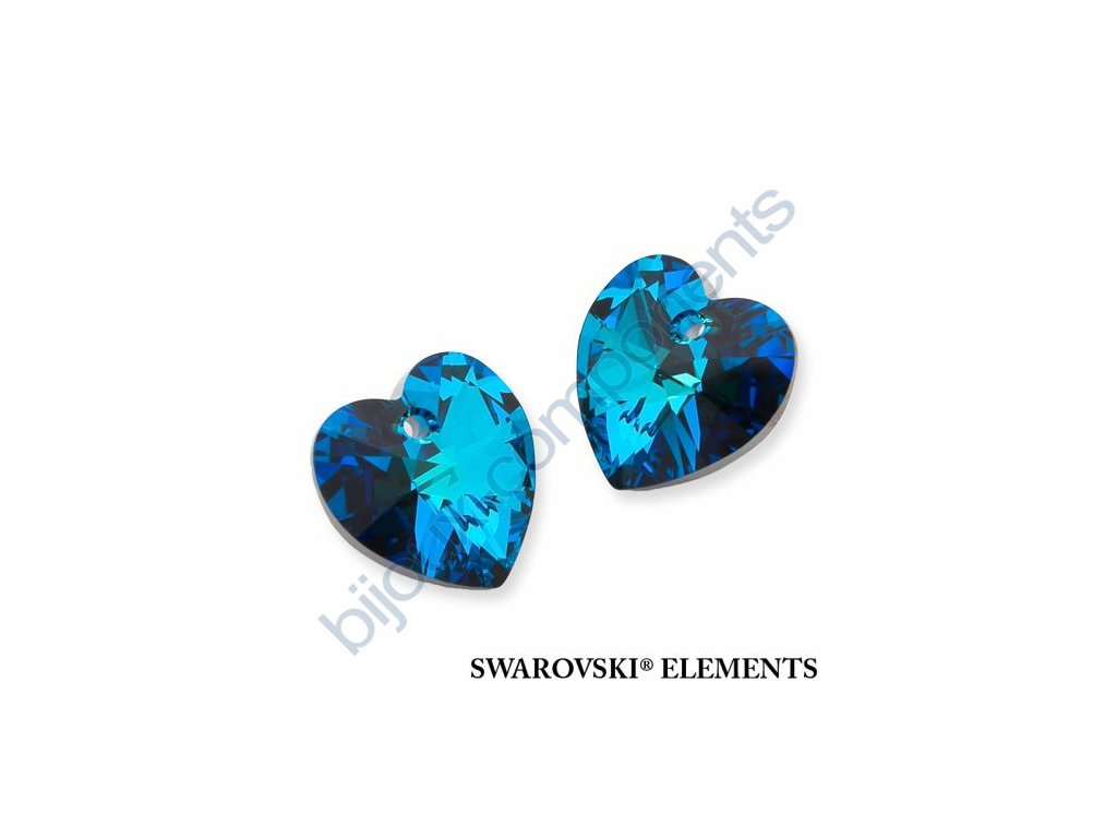 SWAROVSKI CRYSTALS přívěsek - XILION srdce, crystal bermuda blue, 14,4x14mm