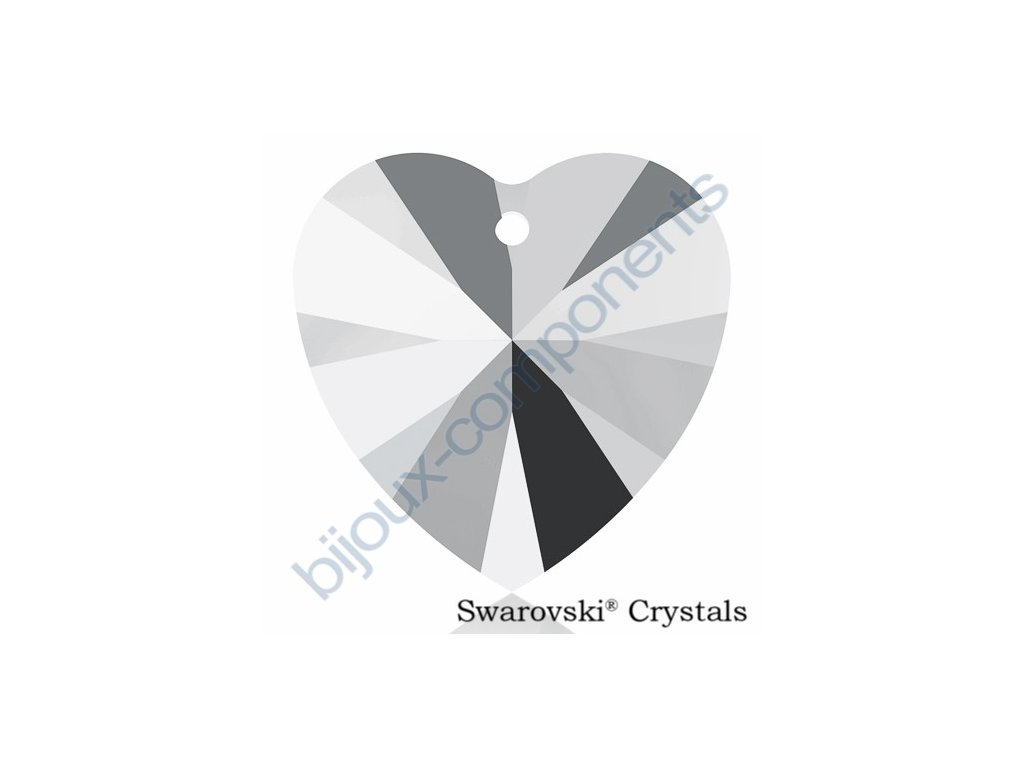 SWAROVSKI CRYSTALS přívěsek - XILION srdce, crystal light chrome, 14,4x14mm
