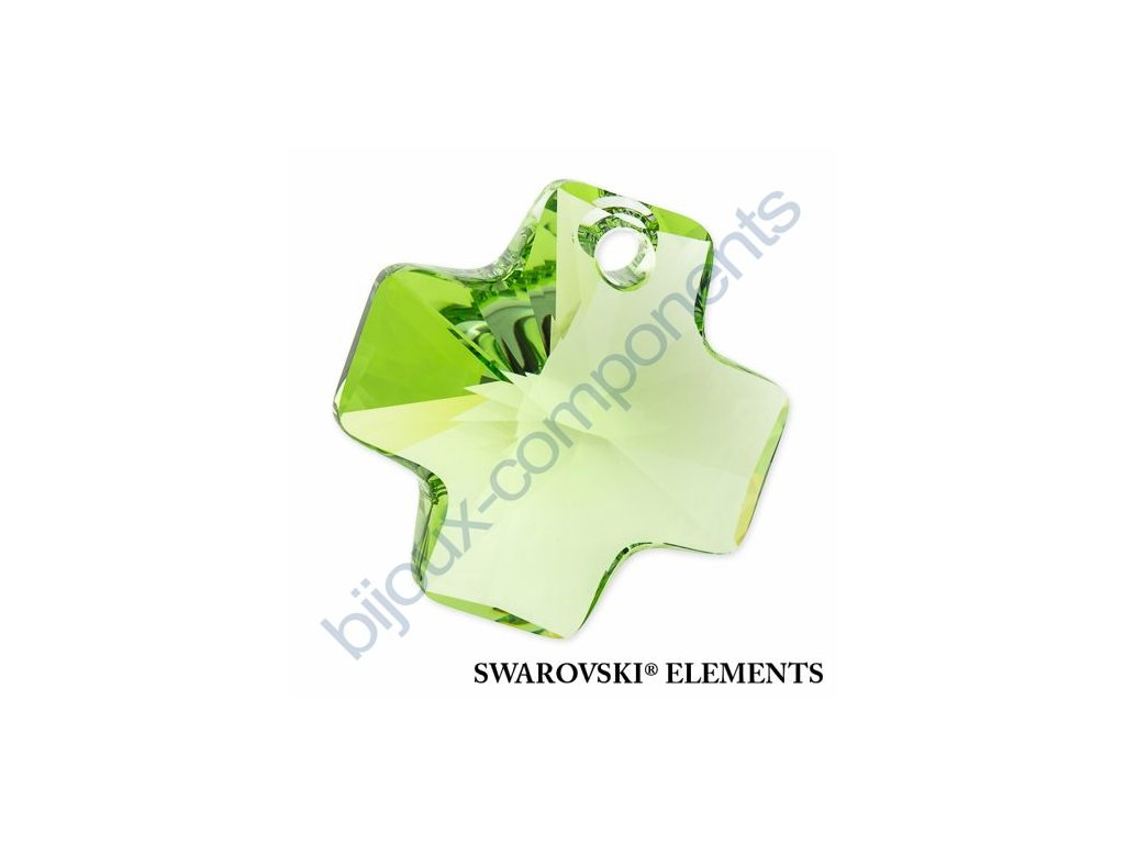 SWAROVSKI ELEMENTS přívěsek - křížek, peridot, 20mm