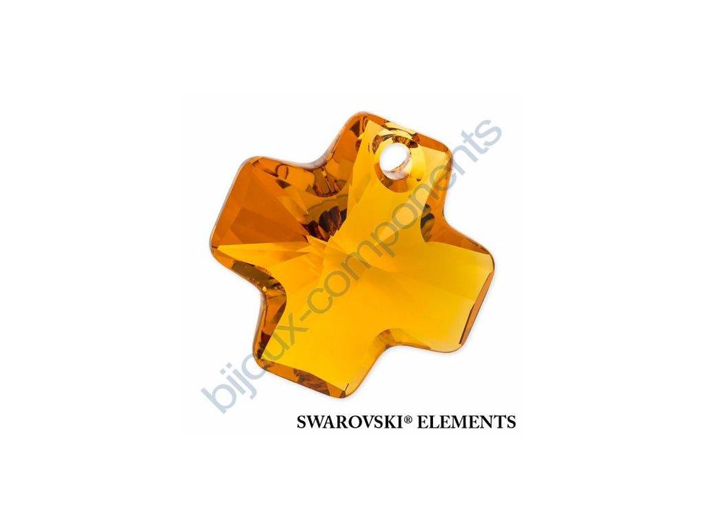 SWAROVSKI ELEMENTS přívěsek - křížek, topaz, 20mm