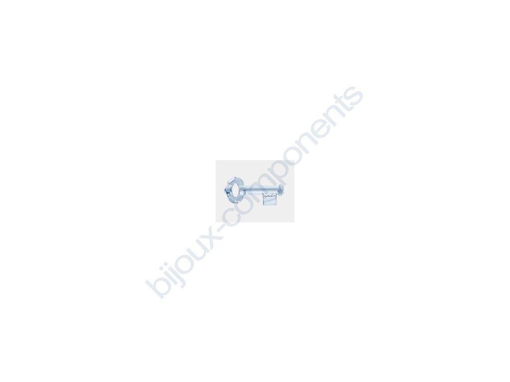 SWAROVSKI ELEMENTS přívěsek - klíč, crystal blue shade s podpisem Yoko Ono, 50mm