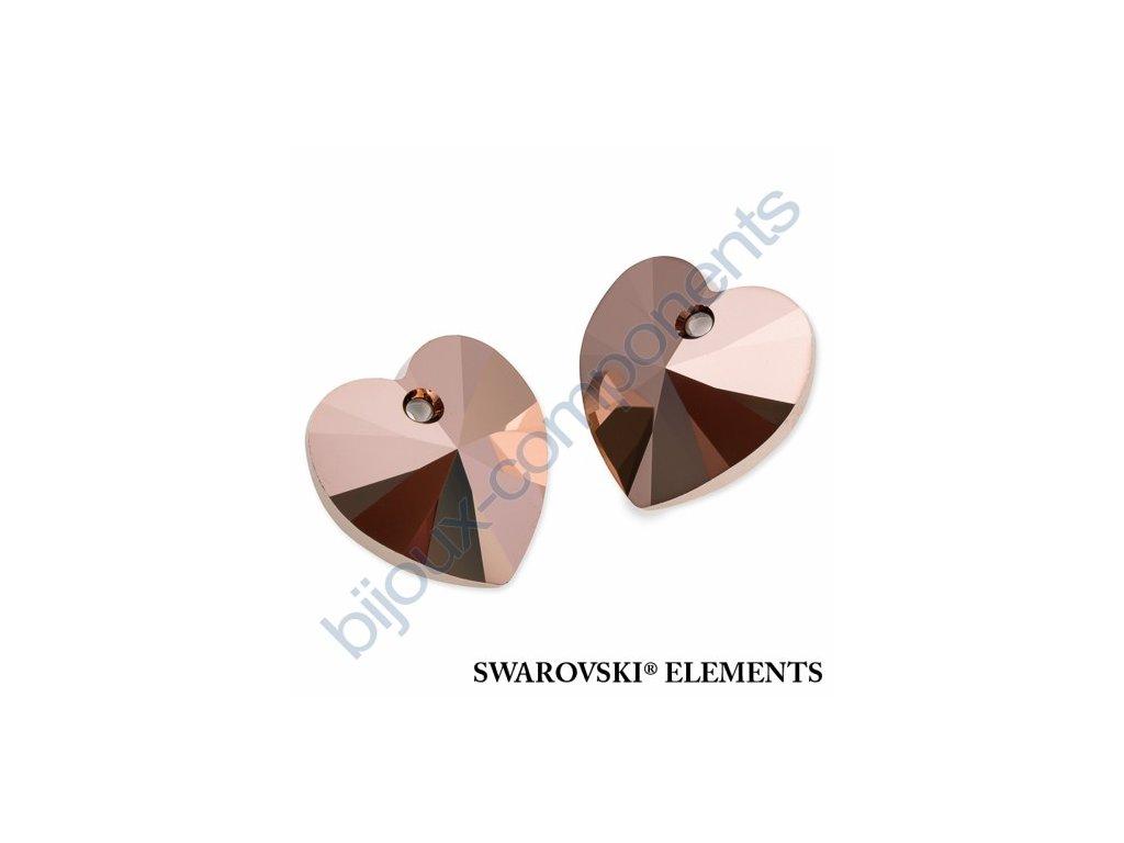 SWAROVSKI ELEMENTS přívěsek - XILION srdce, crystal rose gold 2x, 14,4x14mm
