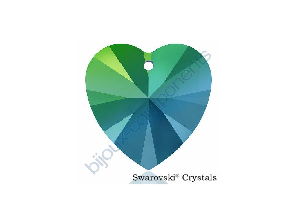 SWAROVSKI CRYSTALS přívěsek - XILION srdce, crystal scarabeus green, 14,4x14mm