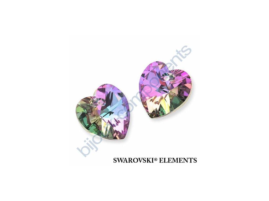 SWAROVSKI CRYSTALS přívěsek - XILION srdce, crystal vitrail light, 14,4x14mm