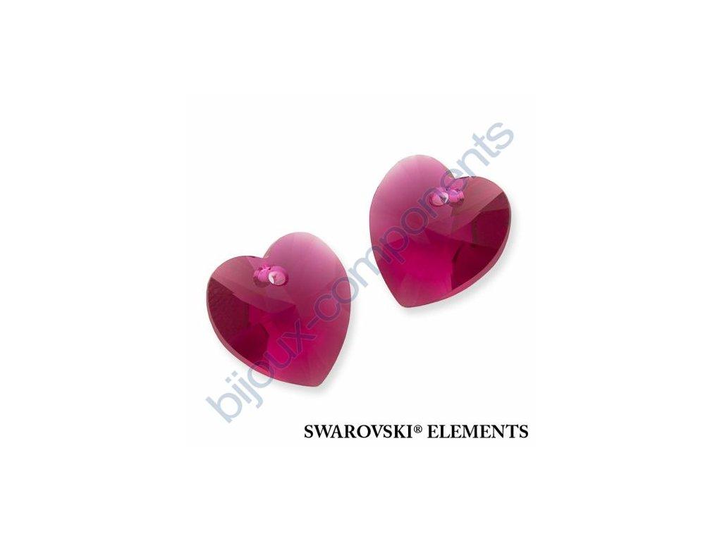 SWAROVSKI ELEMENTS přívěsek - XILION srdce, fuchsia, 14,4x14mm