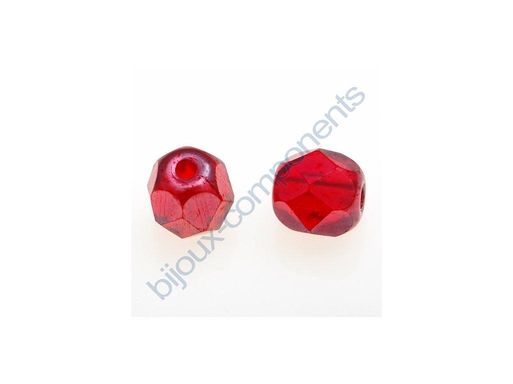 Ohňové korálky barvené, cca 5mm/ červená/hematit