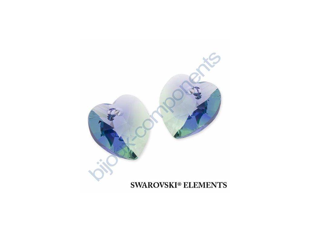 SWAROVSKI ELEMENTS přívěsek - XILION srdce, provence lavender - chrysolite blend, 14,4x14mm