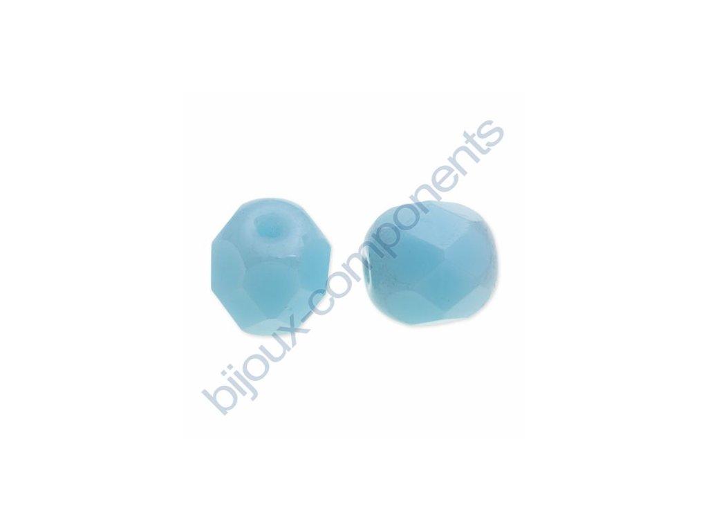 Ohňové korálky barvené, cca 6mm/ mléčně modrá