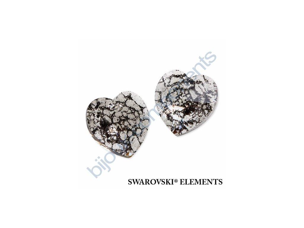 SWAROVSKI ELEMENTS přívěsek - XILION srdce, crystal black patina, 18x17,5mm