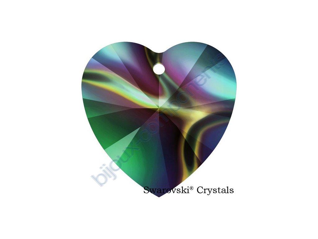 SWAROVSKI CRYSTALS přívěsek - XILION srdce, crystal rainbow dark, 18x17,5mm