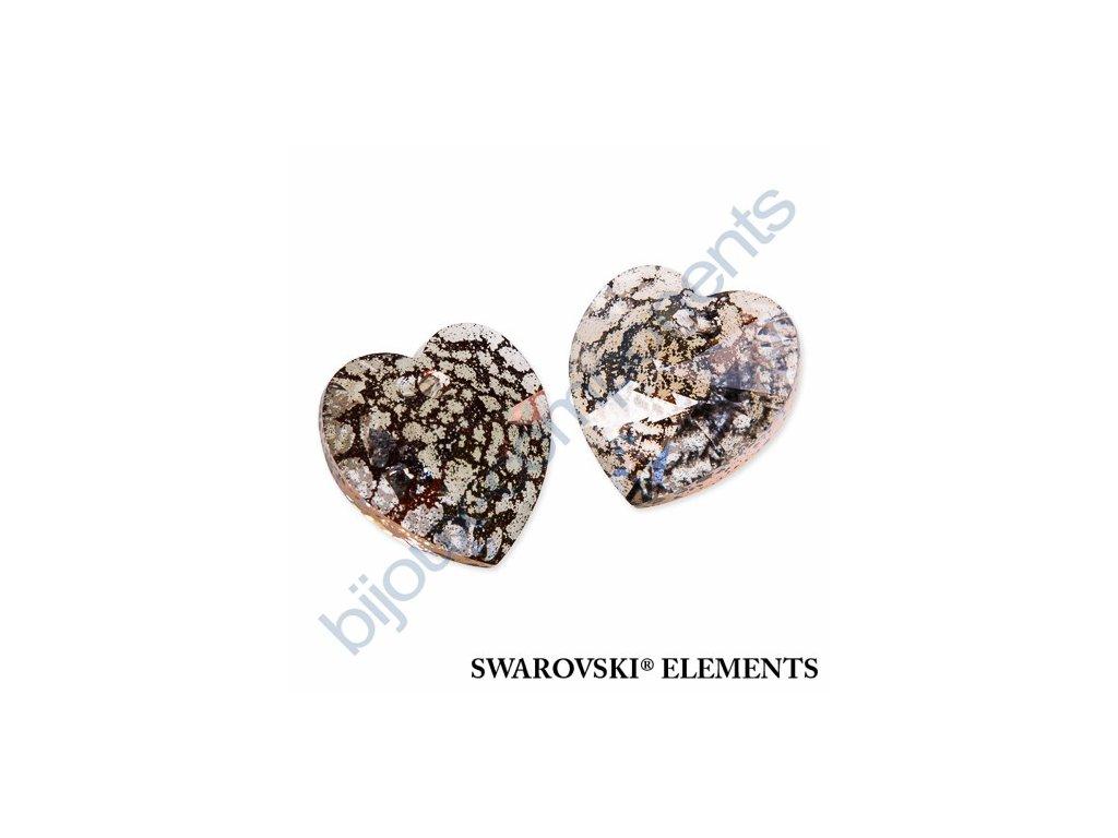 SWAROVSKI ELEMENTS přívěsek - XILION srdce, crystal rose patina, 18x17,5mm