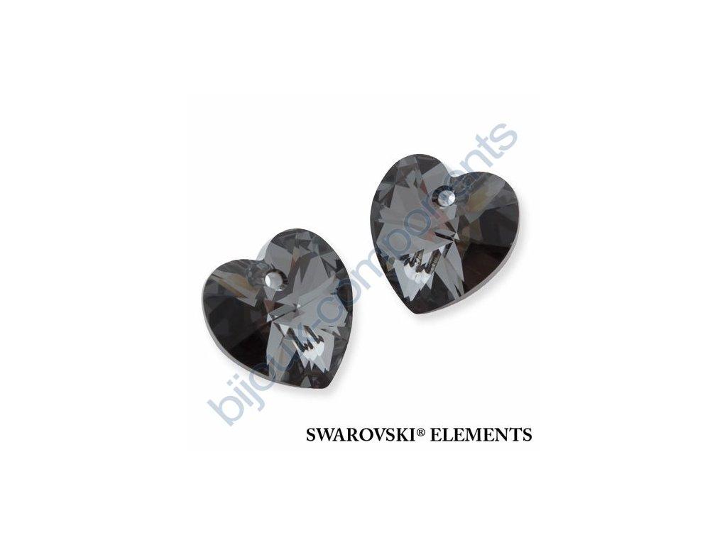 SWAROVSKI ELEMENTS přívěsek - XILION srdce, crystal silver night, 18x17,5mm