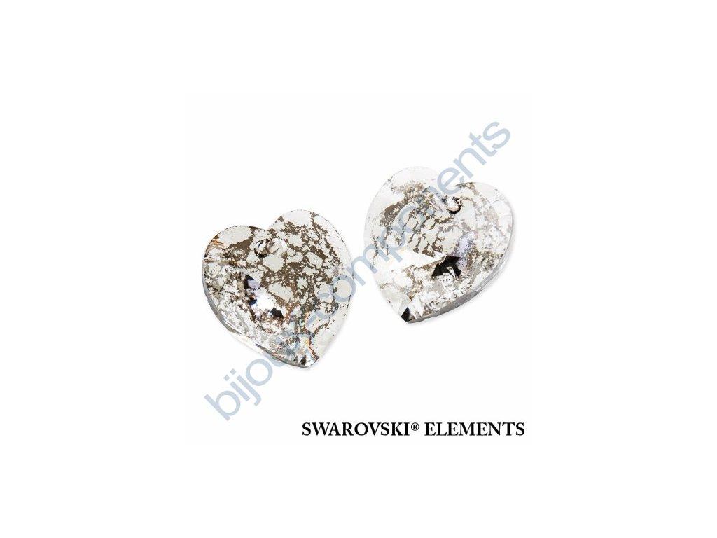 SWAROVSKI ELEMENTS přívěsek - XILION srdce, crystal silver patina, 18x17,5mm
