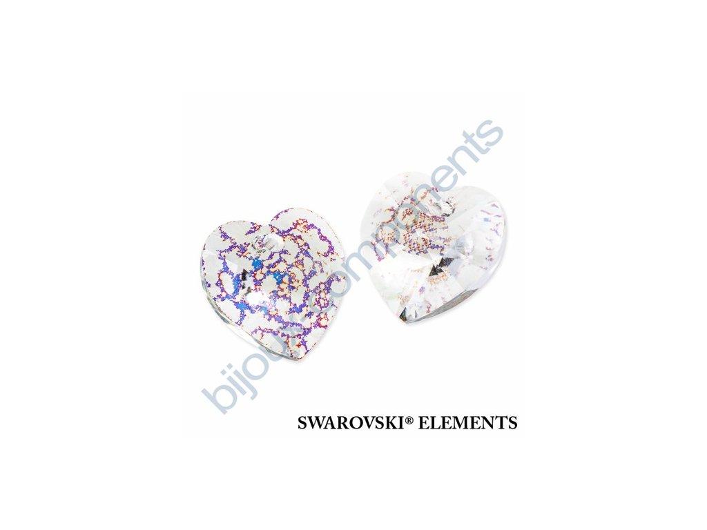 SWAROVSKI ELEMENTS přívěsek - XILION srdce, crystal white patina, 18x17,5mm