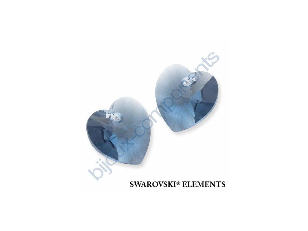 SWAROVSKI ELEMENTS přívěsek - XILION srdce, denim blue, 18x17,5mm