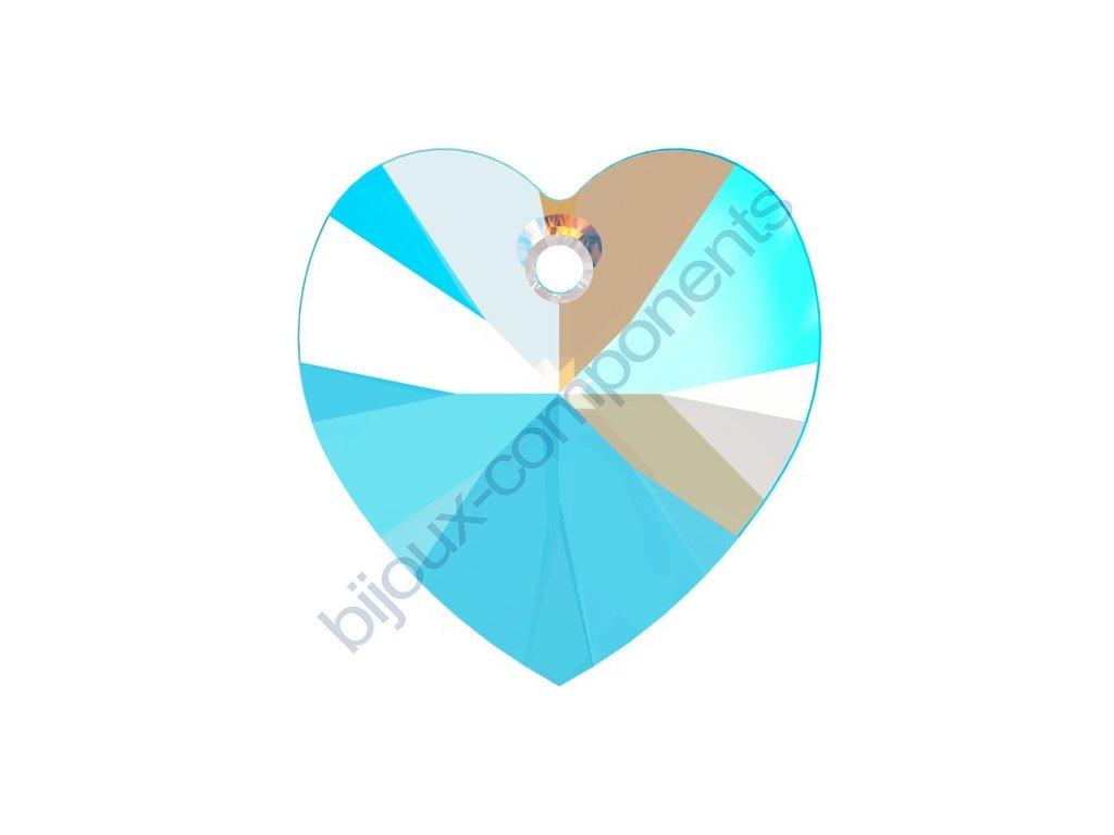 SWAROVSKI CRYSTALS přívěsek - XILION srdce, light sapphire shimmer effect, 18x17,5mm