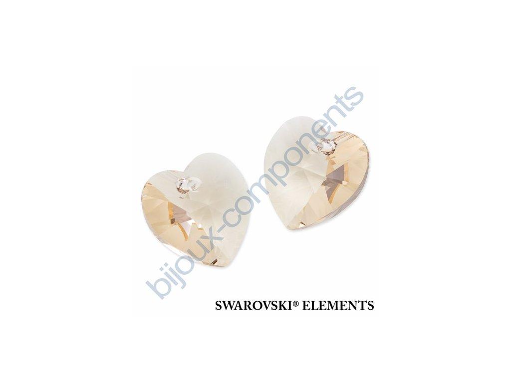 SWAROVSKI ELEMENTS přívěsek - XILION srdce, light silk, 18x17,5mm