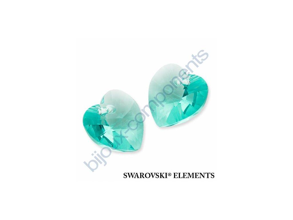 SWAROVSKI ELEMENTS přívěsek - XILION srdce, light turquoise, 18x17,5mm