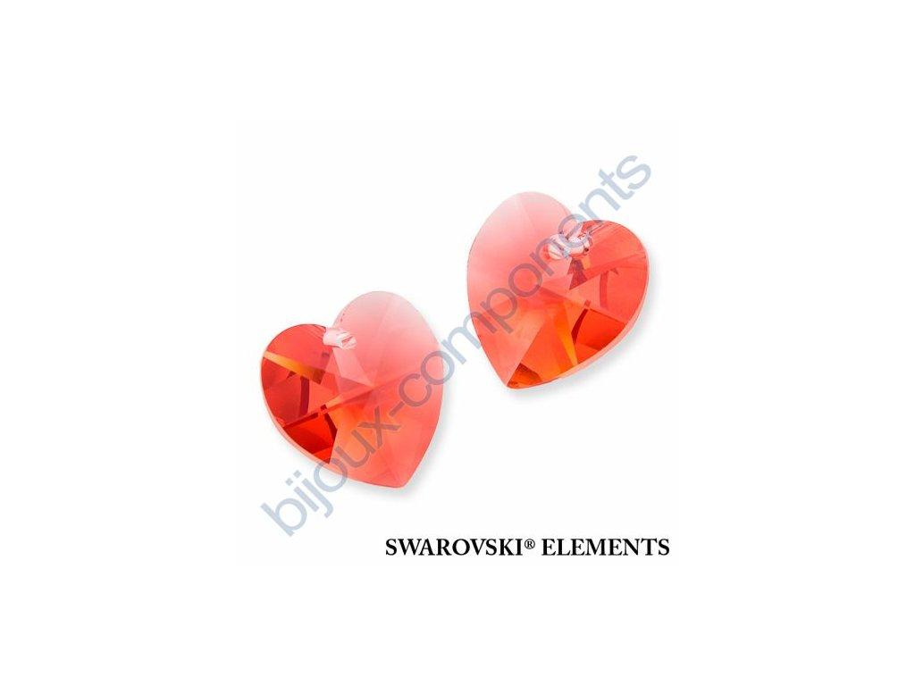 SWAROVSKI ELEMENTS přívěsek - XILION srdce, padparadscha, 18x17,5mm