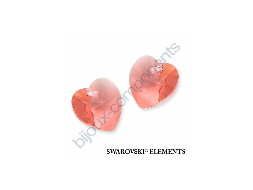 SWAROVSKI ELEMENTS přívěsek - XILION srdce, rose peach, 18x17,5mm