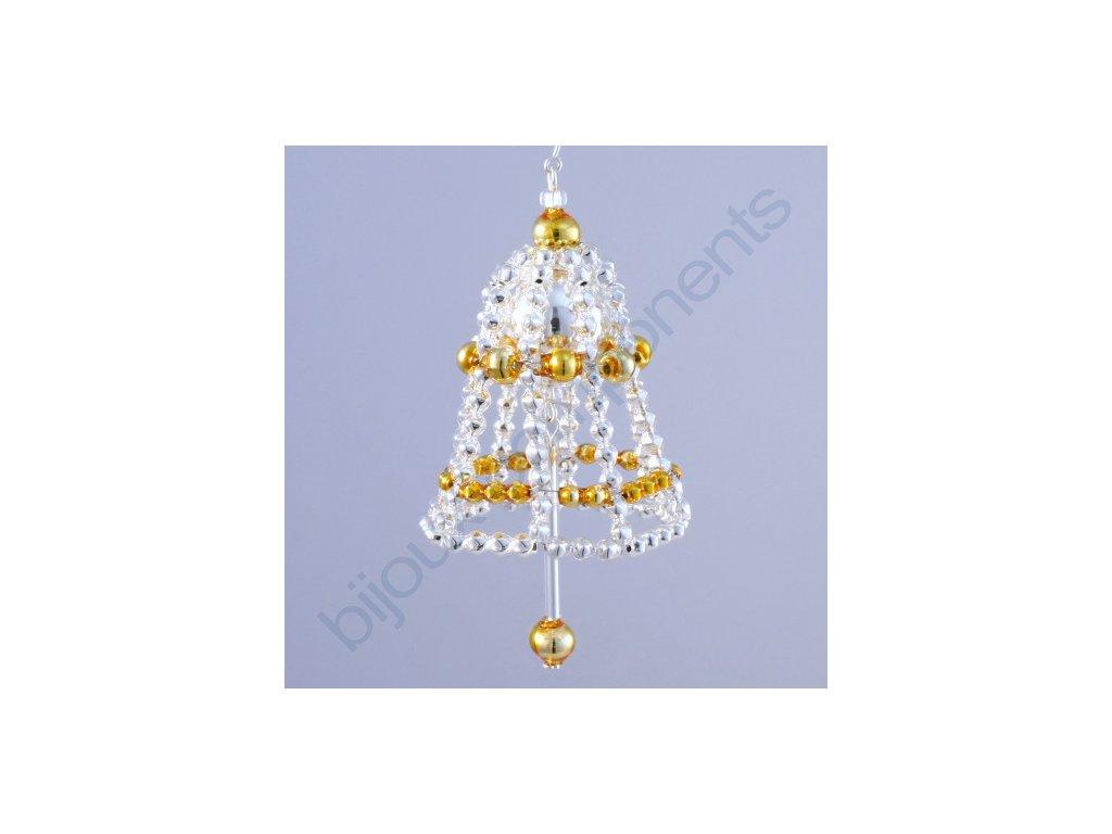 Rukodělná stavebnice - zvonek stříbrný/zlatý, cca 4x4x6cm