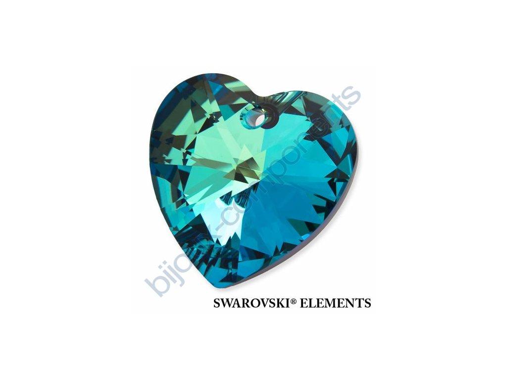 SWAROVSKI ELEMENTS přívěsek - XILION srdce, crystal bermuda blue, 28mm