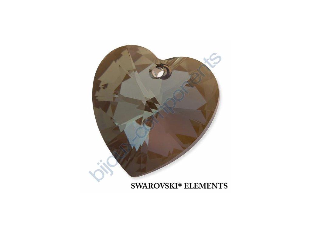 SWAROVSKI ELEMENTS přívěsek - XILION srdce, crystal bronze shade, 28mm