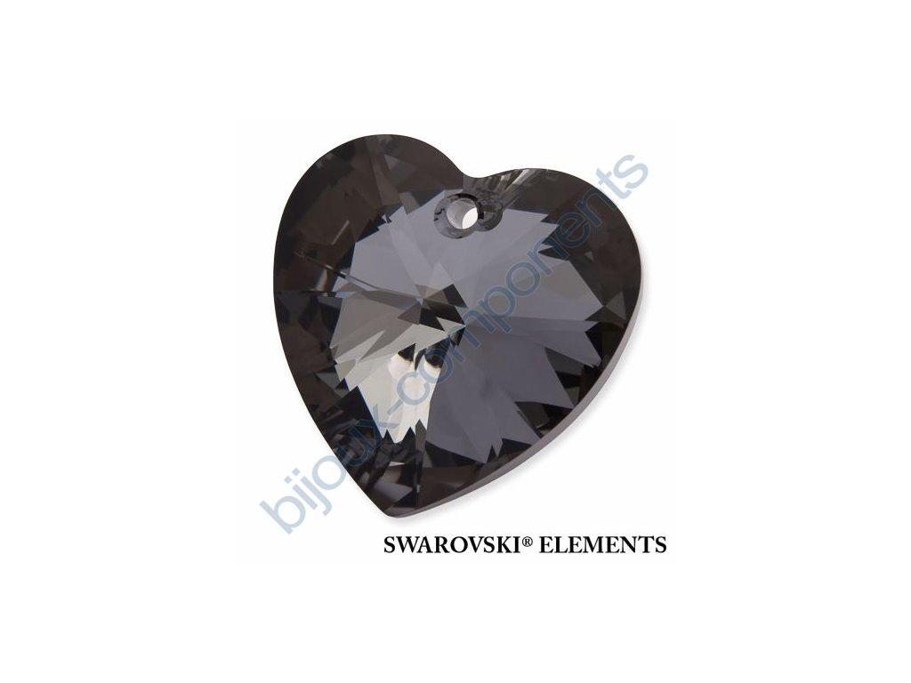 SWAROVSKI ELEMENTS přívěsek - XILION srdce, crystal silver night, 28mm