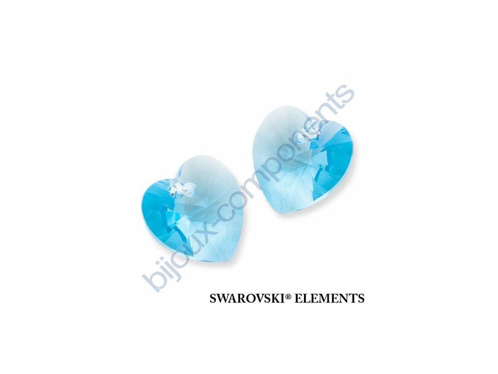SWAROVSKI ELEMENTS přívěsek - XILION srdce, aquamarine, 10,3x10mm