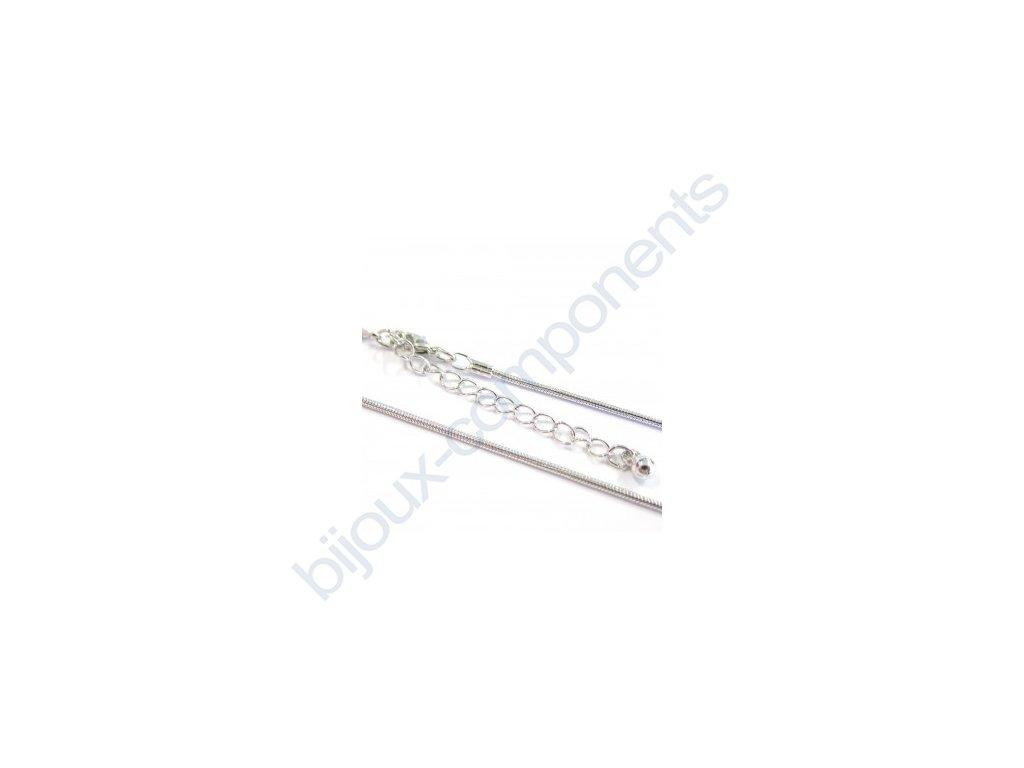 Řetízek se záponkou - hadina kulatá, cca 1,2mm/44cm, prodlužovací řetízek cca 6cm