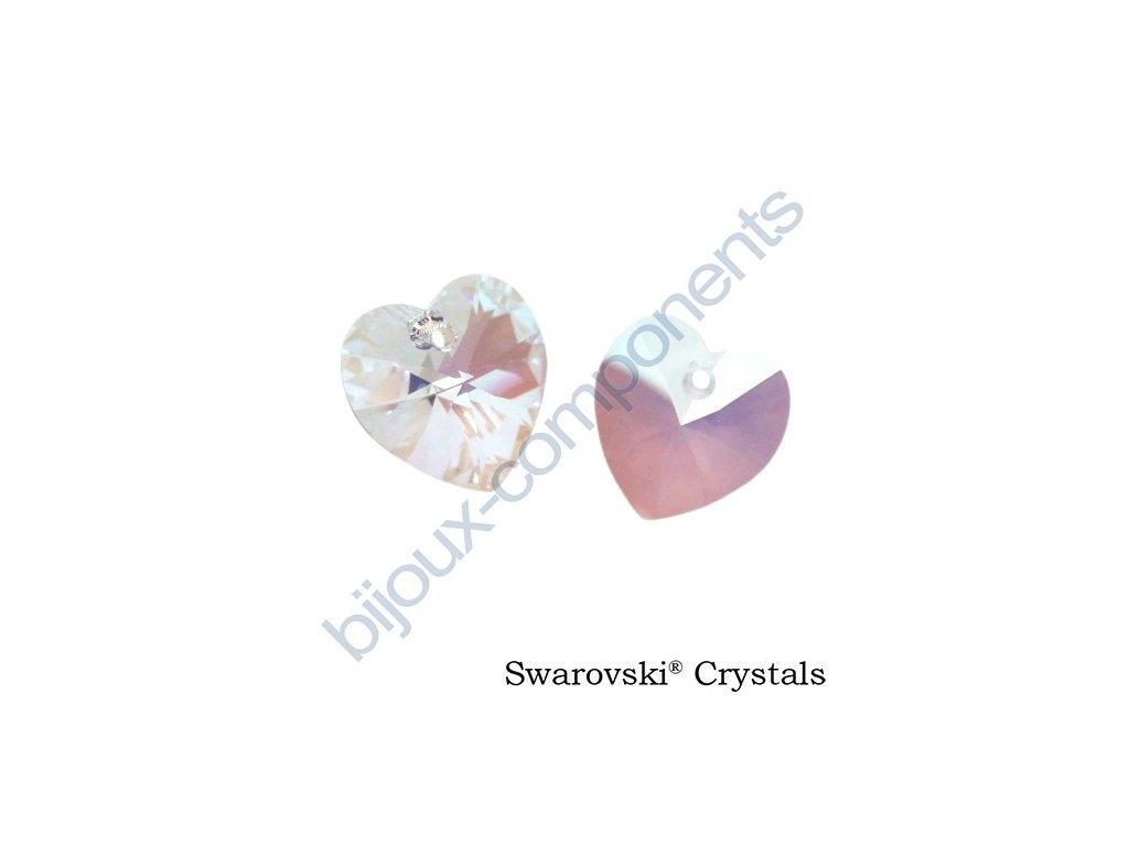 SWAROVSKI CRYSTALS přívěsek - XILION srdce, crystal shimmer, 10,3x10mm