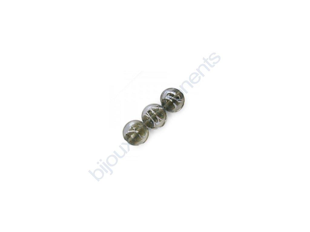 Skleněné korálky šedé(black diamond)/stříbrná folie