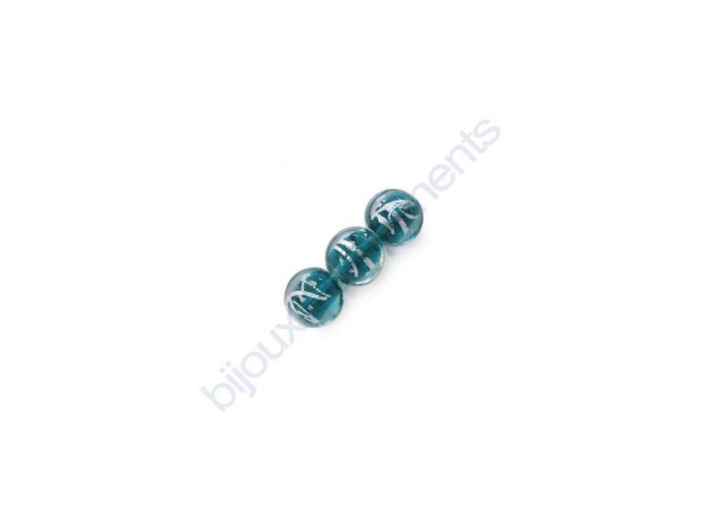 Skleněné korálky modrozelené(blue zircon)/stříbrná folie