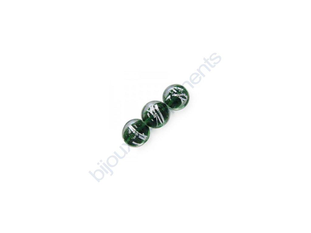 Skleněné korálky zelené(emerald)/stříbrná folie