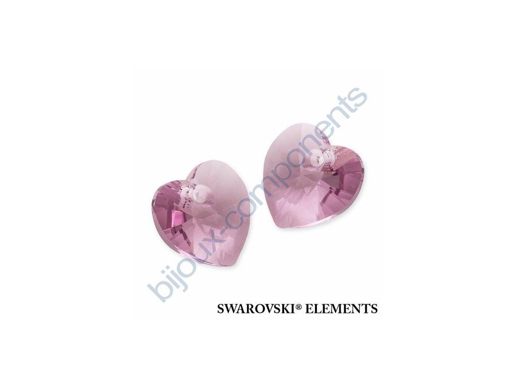 SWAROVSKI ELEMENTS přívěsek - XILION srdce, light amethyst, 10,3x10mm