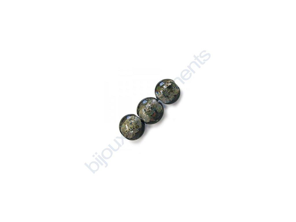 Skleněné korálky šedé (black diamond)/barevné flíčky
