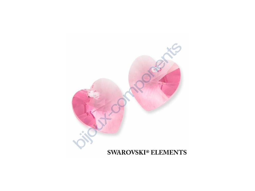 SWAROVSKI ELEMENTS přívěsek - XILION srdce, light rose, 10,3x10mm