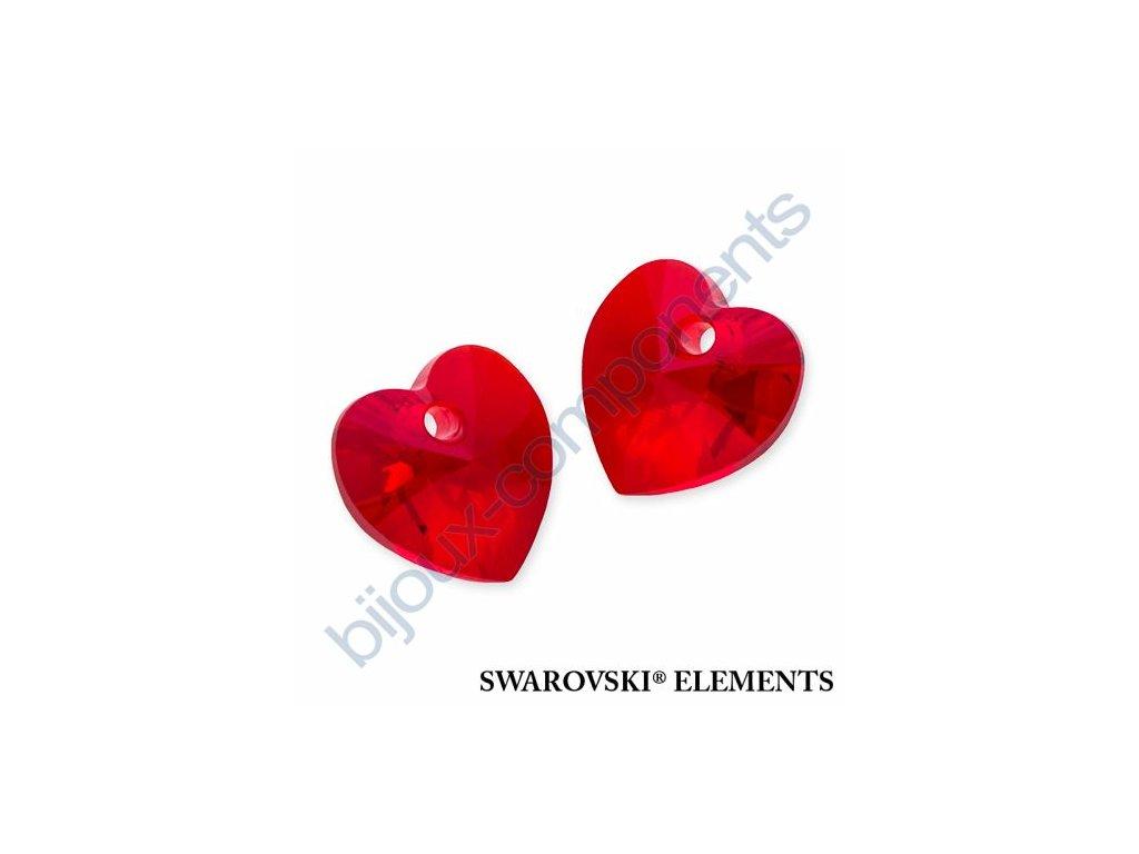 SWAROVSKI ELEMENTS přívěsek - XILION srdce, light siam, 10,3x10mm