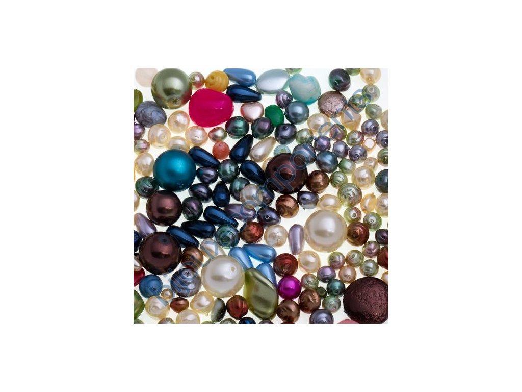 skleněné voskované korálky - mix různých druhů