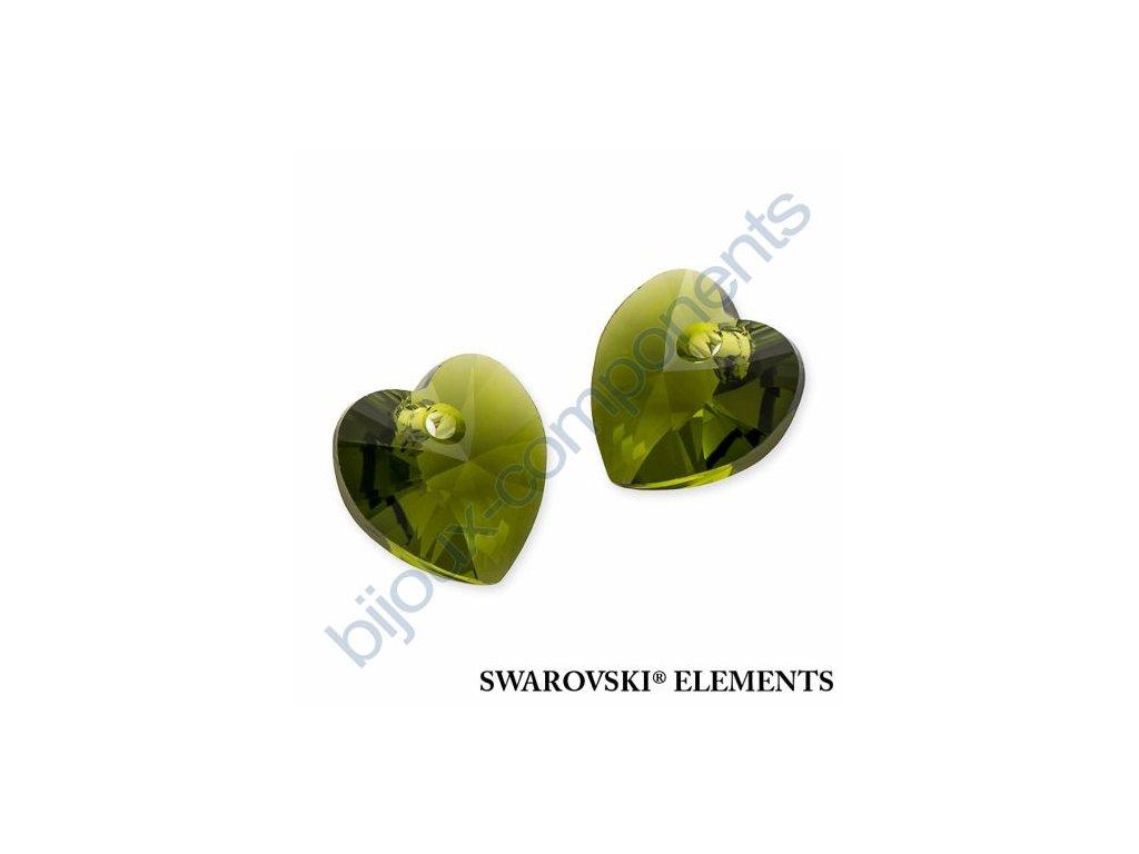 SWAROVSKI ELEMENTS přívěsek - XILION srdce, olivine, 10,3x10mm