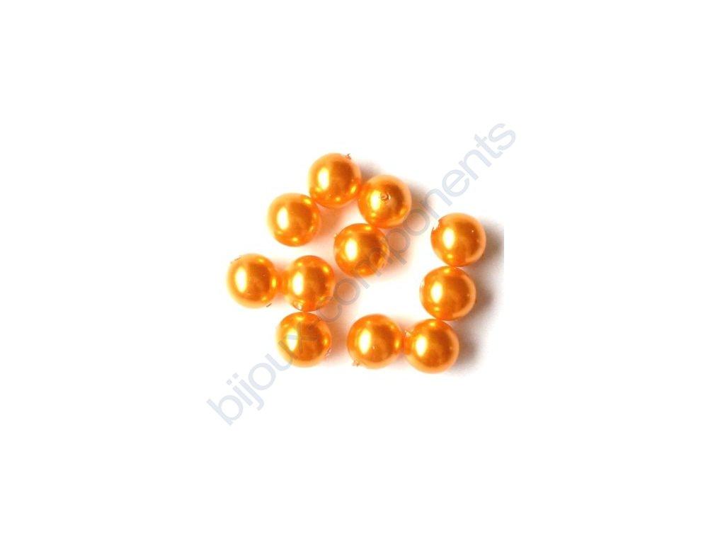 Skleněné voskované perle, oranžová - díky složitým technologickým procesům při výrobě, nelze zajistit stejný odstín barev u jednotlivých velikostí.