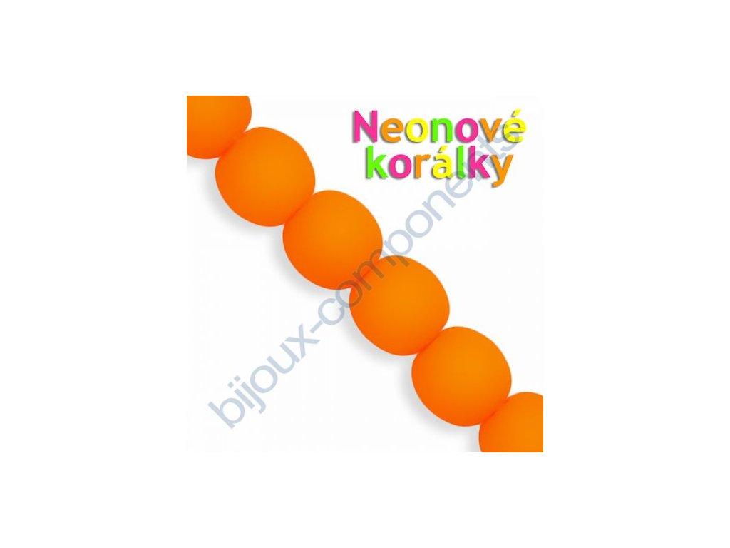 Neonové korálky s UV efektem, kuličky, oranžové