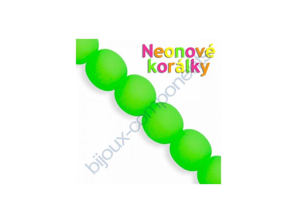 Neonové korálky s UV efektem, kuličky, zelené