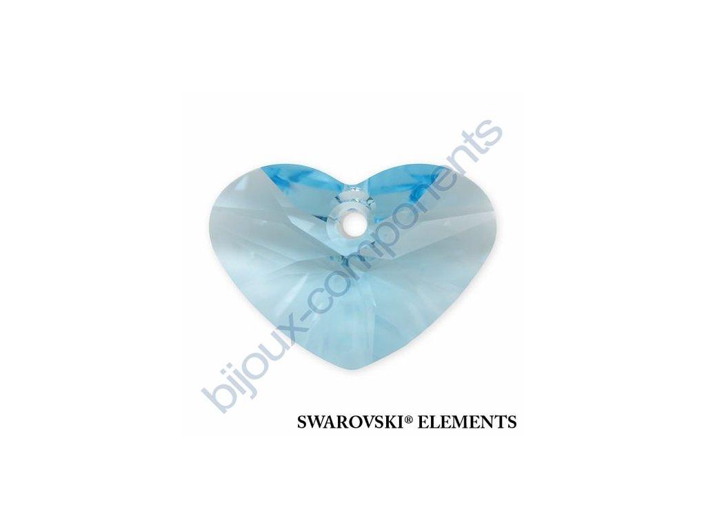 SWAROVSKI ELEMENTS přívěsek - Crazy 4 U Heart, aquamarine, 17mm