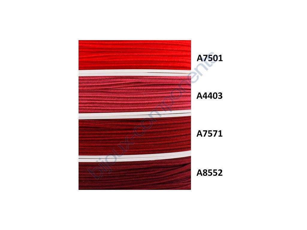 Sutaška, 3mm, 100% viskóza - červené odstíny